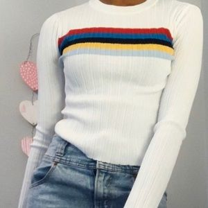 White/rainbow long sleeve top